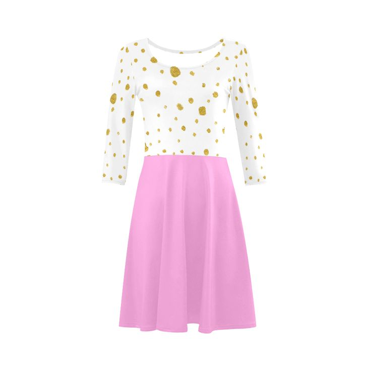 New in shop! Sweet designers dress : gold and pink 3/4 Sleeve Sundress (D23).Gold on Dress can look nice. We use gold dots with soft pink coloring. Enjoy magic! Artist : guothova