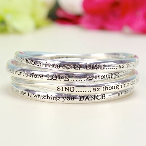 Set of Four Meaningful Words Bangles in Silver for £22.00 at www.lisaangel.co.uk