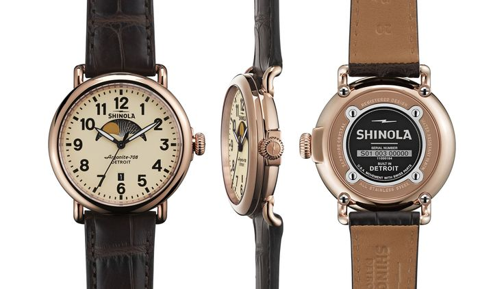 Shinola Cream Runwell Moon Phase 41mm Watch - Dark Brown Alligator Leather Strap
