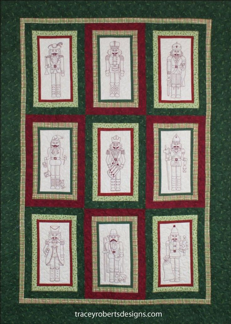 Nutcracker Christmas BOM Stitchery was inspired by a friends Nutcracker collection. Each of the nine blocks are stitched in red work back stitch embroidery and feature a different Nutcracker, including a drummer, a shepherd, a trumpeter and many more. Nutcracker Christmas is a 9 month BOM.  Comprehensive instructions are supplied with each pattern. Each new block pattern will be available from the 1st of every month on Craftsy and at the Tracey Roberts Designs website.
