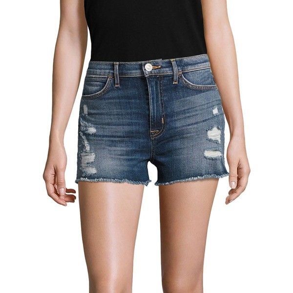 Hudson Soko High-Rise Distressed Cut-Off Denim Shorts ($131) ❤ liked on Polyvore featuring shorts, destroyed denim shorts, distressed jean shorts, ripped jean shorts, distressed high waisted shorts and high-waisted jean shorts