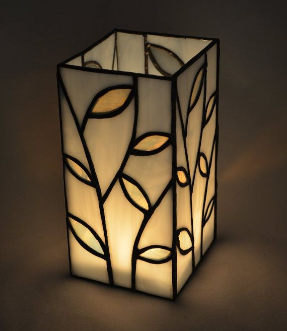 Stained Glass Leaf Candle Vase