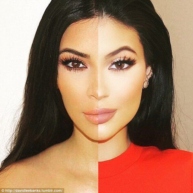 Identical twins: This split image being shared on Tumblr shows how much Kylie Jenner (right) looks like her older half-sister Kim Kardashian (left)