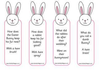 Easter Bunny jokes bookmarks