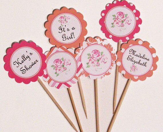 Garden Party Customized Printable Cupcake Toppers