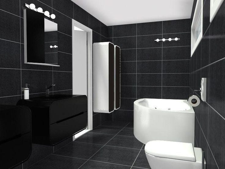 Winning Design 3d Floor Plan For A Luxury Bathroom With Black Fixtures Designed By
