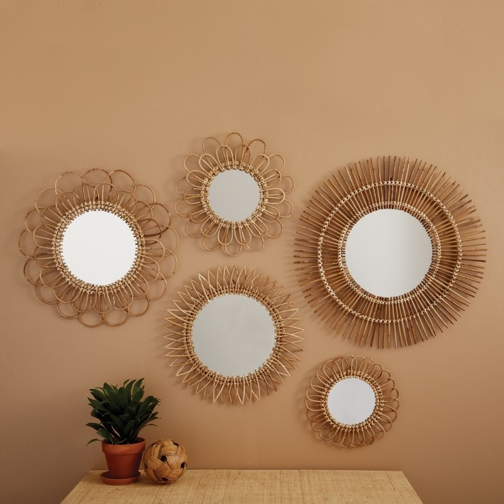 Natural rattan wall mirrors set of 5 event decor for Miroir soleil metal