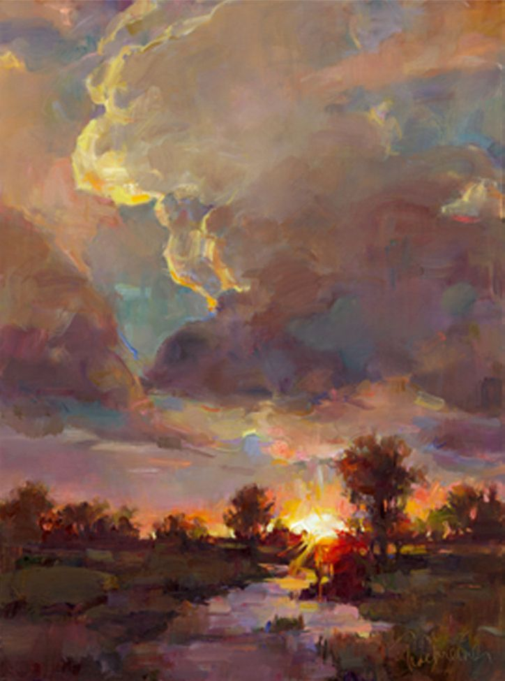 "Sunrise Sunset by Tom Nachreiner. Oil on canvas, 40"" x 30"". Sold."