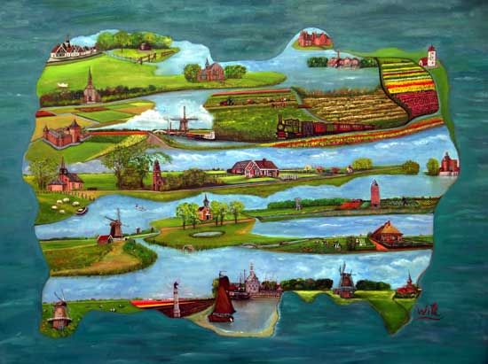 Westfriesland op een schilderij van Wil Stroomer-Sjerps.