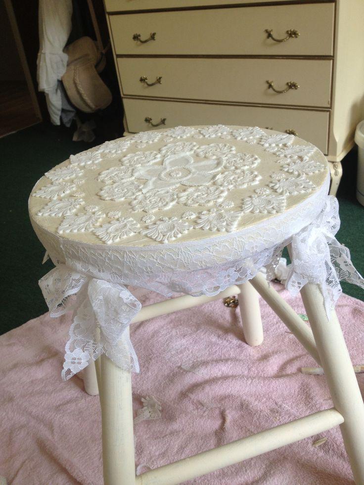 Shabby chic stool Lace/ Mod podge