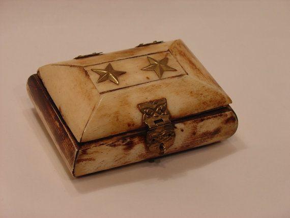 Vintage 2 Stars Brass and Bone Trinket Box by myitaliandreams