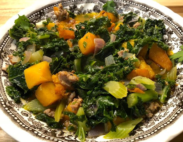 Italian Sausage and Kale Soup with Butternut Squash and Black Garlic #sunbasket