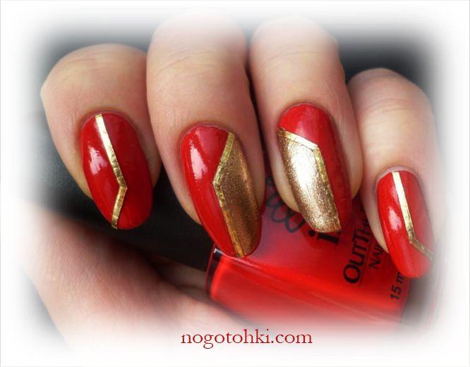 дизайн ногтей красный с золотом фото 0