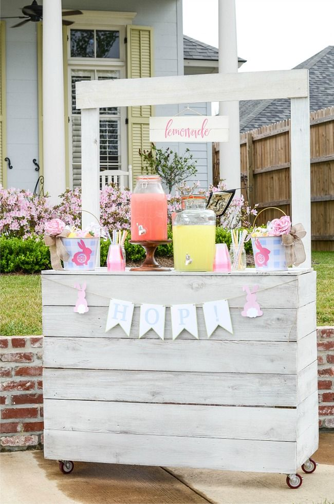 Easter Egg Hunt Lemonade Stand with rolling wheels/ Aimee Broussard Blog