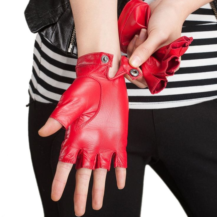 USA STOCK Women's Nappa Leather Soft Suede Leather Fingerless Gloves Punk Rock #kursheuel #Fingerless