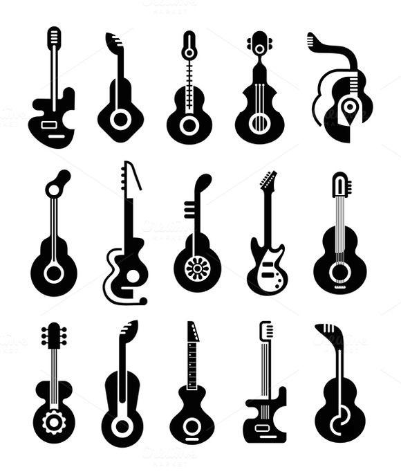 Guitar Icon Set by dan on Creative Market