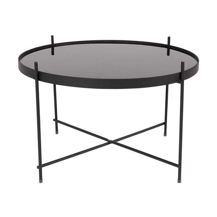 Zuiver Cupid Large Black Bijzettafel By Zuiver De Cupid Large bestaat uit een afneembaar glazen tafelblad vervaardigd uit zwart gelaagd gehard glas en uit een opvouwbaar zwart gepoedercoat ijzeren frame (10 mm). De tafel heeft een maximale belasting van 5 kg. Cupid Large is verkrijgbaar in een koperen en in een zwarte uitvoering.