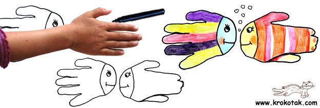 Art avec les mains...transformation en animal.