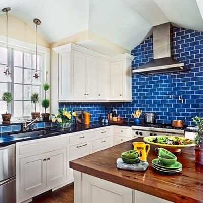 All About Ceramic Subway Tile. Blue Kitchen TilesBlue BacksplashSubway ...
