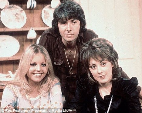 Sally Thomsett as Jo, Richard O'Sullivan as Robin Tripp, and Paula Wilcox as Chrissy Plummer, in 'Man About the House' (1973)