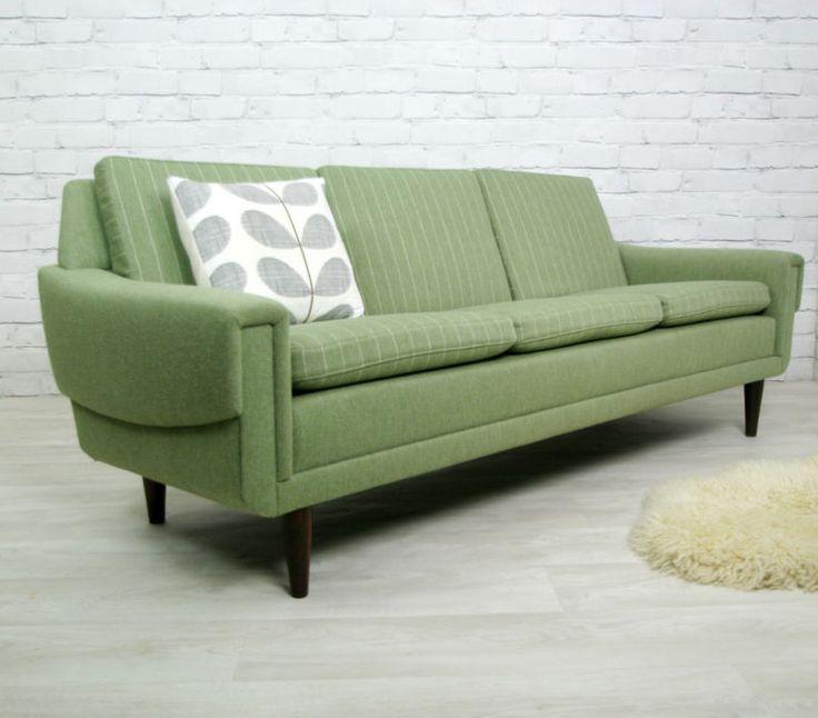 danish retro vintage mid century sofa settee couch eames era 1950s 60s