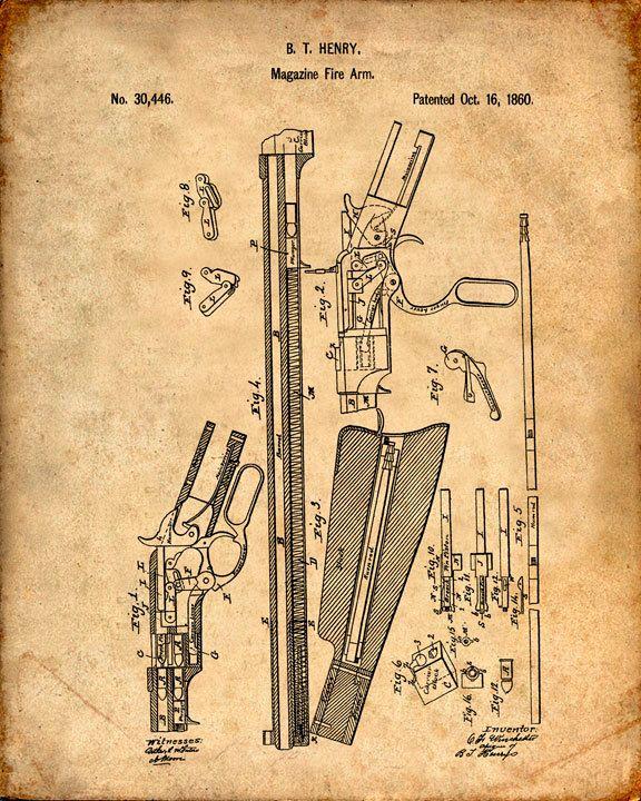 Se trata de una copia de la patente de dibujo para una patente de Winchester Rifle de repetición en 1860. La patente original ha sido limpiada y mejorado para crear una pieza de exhibición atractiva para su hogar u oficina. Esto es una gran manera de poner tus intereses y aficiones en exhibición. Idea de regalo maravilloso también. La imagen se imprime en papel ácido, profesional gratis, archivo mate arte dando la imagen de colores ricos y vibrantes. Impresiones son empaquetadas en fundas…