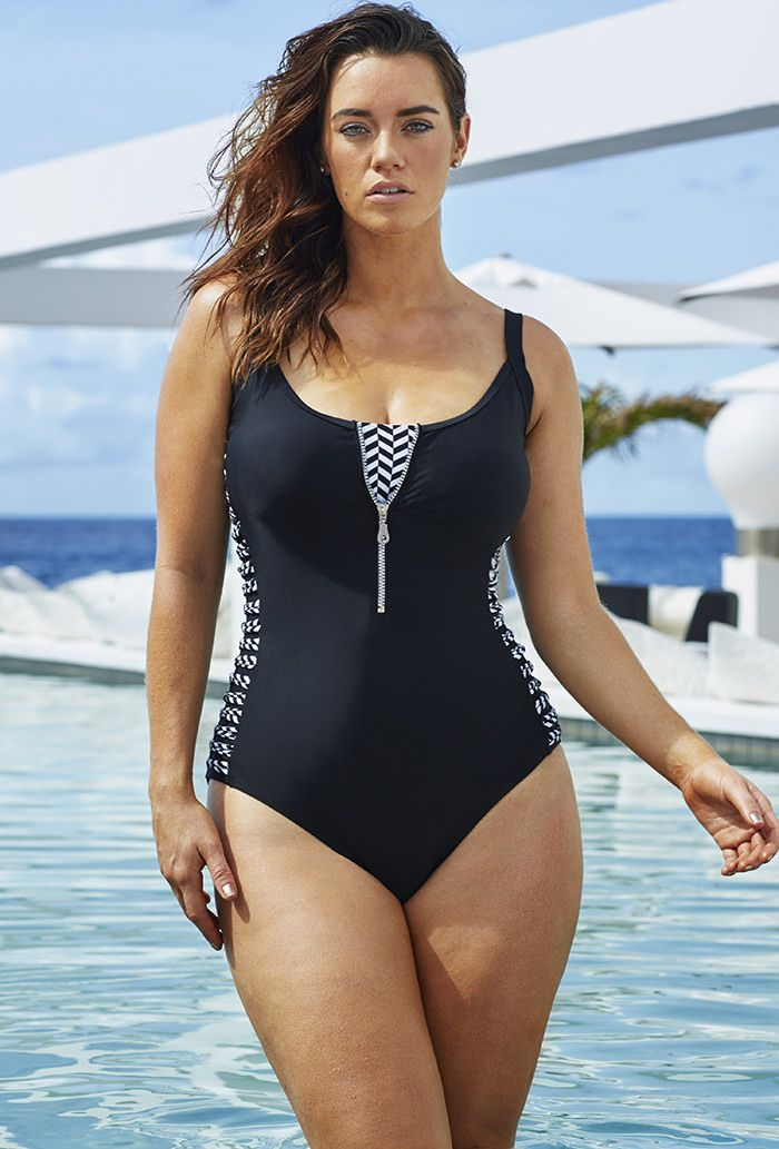Swim Sexy- Midnight Fever Zipper Swimsuit  #plussizeswimwear #fatkini #plussize
