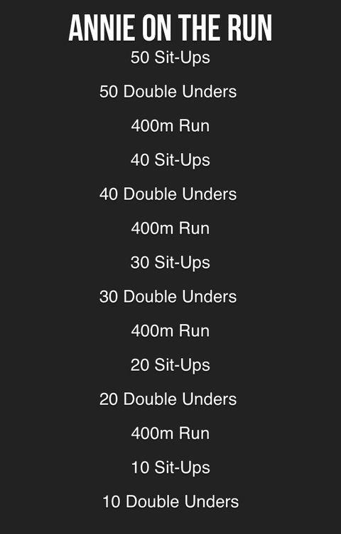 Crossfit:  Fun WoD---I would change the run to 500-400-300-200-100.