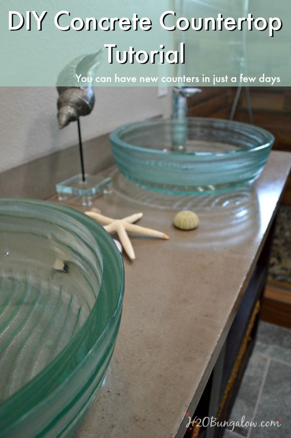 DIY concrete countertop tutorial with a video included will have you ready to make your own DIY concrete countertops in a weekend and save a bundle in the process! www.H2OBungalow.com