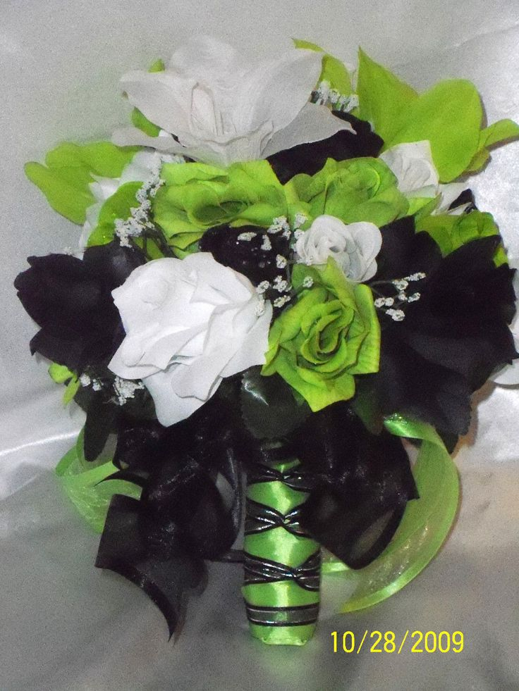 pearl white neon green and BLACK wedding ideas | Bridal Bouquet Package Lime Green Black Silk Wedding Flowers