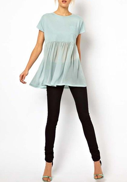 Green Pockets Patchwork Pleated Short Sleeve Chiffon T-Shirt  obsessing! This is so cute and comfy but cute! Need this in my life