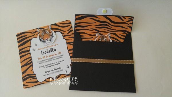 Convite Tigre com envelope forrado  :: flavoli.net - Papelaria Personalizada :: Contato: (21) 98-836-0113 - Também no WhatsApp! vendas@flavoli.net