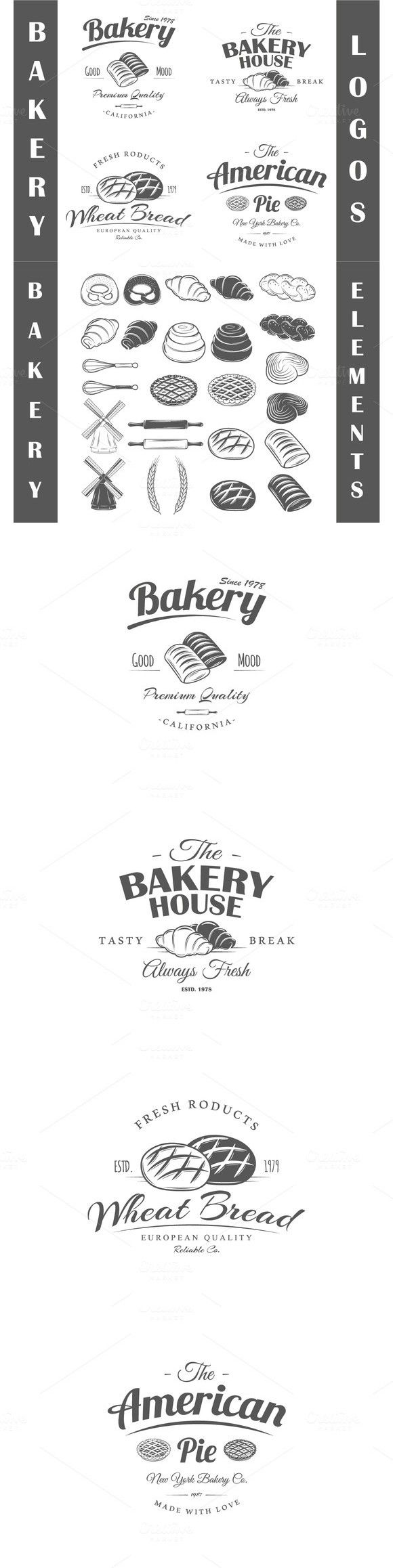4 Bakery logos templates Vol.2. $5.00