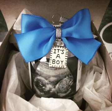 Personalized ornament baby gender reveal by OurGiftShoppe on Etsy