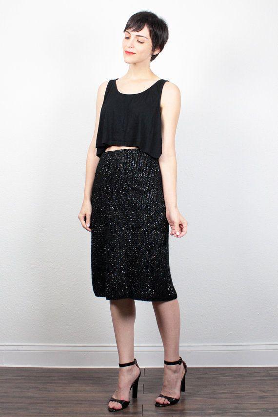 Vintage 80s Skirt Black Rainbow Metallic Midi Skirt 1980s Skirt Knit Pencil Skirt Knee Length Skirt Sweater Jumper Skirt S Small M Medium by ShopTwitchVintage #vintage #1980s #sweater #knit #skirt