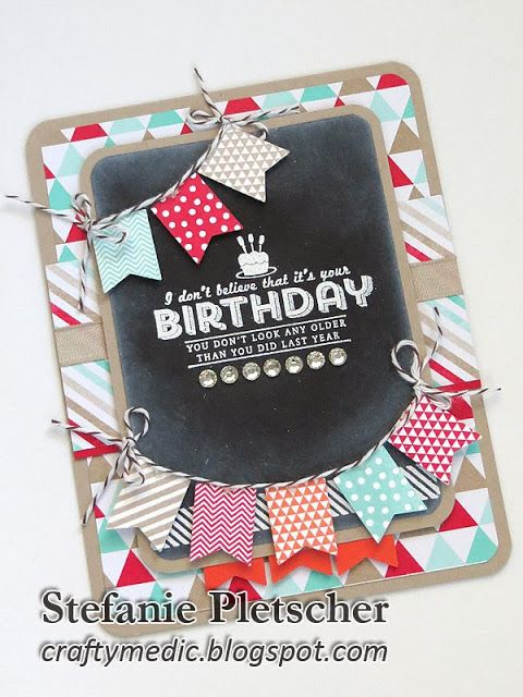 The Crafty Medic: Birthday Banners - Stampin' Up! Banner Blast SAB stamp set and punch, See You Later stamp set, Fresh Prints designer series paper stack