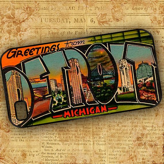 Vintage Detroit Michigan image Iphone 4 case by ToGildTheLily, $16.99