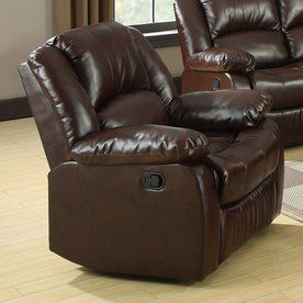 Furniture Of America Winslow Rustic Brown Bonded Leather Recliner Cm6556-C