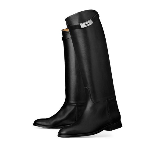 """Jumping  Hermes ladies' boot in black box calfskin. Stacked heel with stitched outsole. Kelly strap in ruthenium hardware.15"""" high shaft, 13.75"""" shaft circumference."""