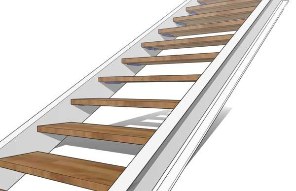 Double Stringer Steel Staircase Detail With Concealed Tread Step Staircase Metal Stairs Stairs