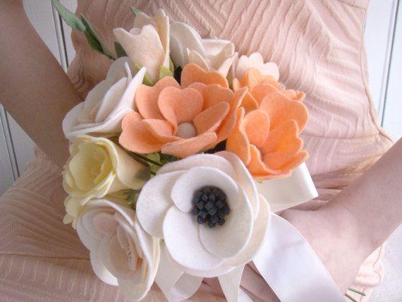 Felt Bride Bouquet, Custom Wedding Bride's Flowers, Felt Flower, Blush Peach Coral, Alternative Bridal Bouquet, Bridesmaid Flowers