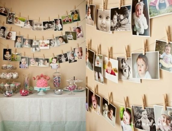 Photos all over bedroom wall