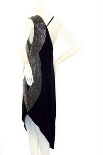 Early 1980s Karl Lagerfeld for Chloe art deco inspired asymmetric black crepe dress with silver beading.