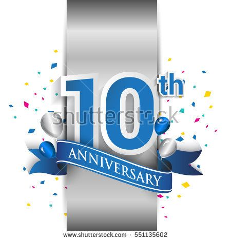 10th anniversary logo with silver label and blue ribbon, balloons, confetti. ten Years birthday Celebration Design for party, and invitation card.
