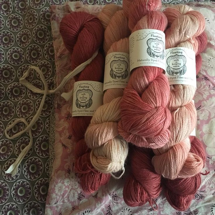 Hand-dyed naturally yarns. The pinks of nature from A Verb for Keeping Warm at Loop, London.