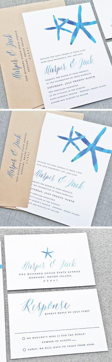 NEW Harper Watercolor Starfish Beach Wedding Invitation with Watercolor Script Calligraphy