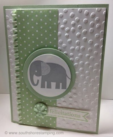 Baby card using the Stampin' Up! set Zoo Babies by Emily Mark SU demo Montreal. www.southshorestamping.com PPA188