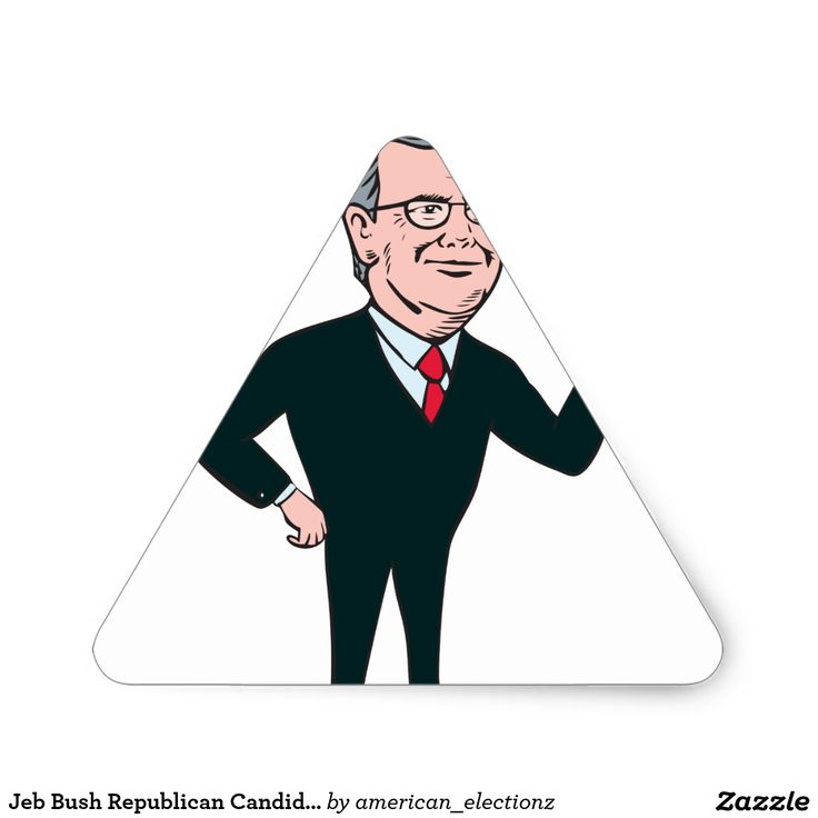 "Jeb Bush Republican Candidate 2016 Cartoon Triangle Sticker. Illustration showing John Ellis ""Jeb"" Bush, an American businessman and politician and Republican 2016 presidential candidate standing flashing victory hand sign on isolated background done in cartoon style. #Jeb2016 republican #americanelections #elections #vote2016 #election2016"