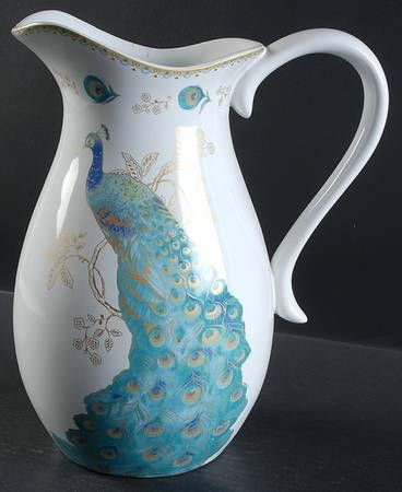 96 Oz Pitcher In Peacock Garden By 222 Fifth (PTS) At Replacements, Ltd