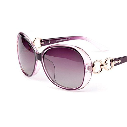 VeBrellen  Luxury Transparent Women's Polarized Sunglasses Retro Eyewear Oversized Square Frame Goggles Eyeglasses (Transport Frame With Purple Lens 60)